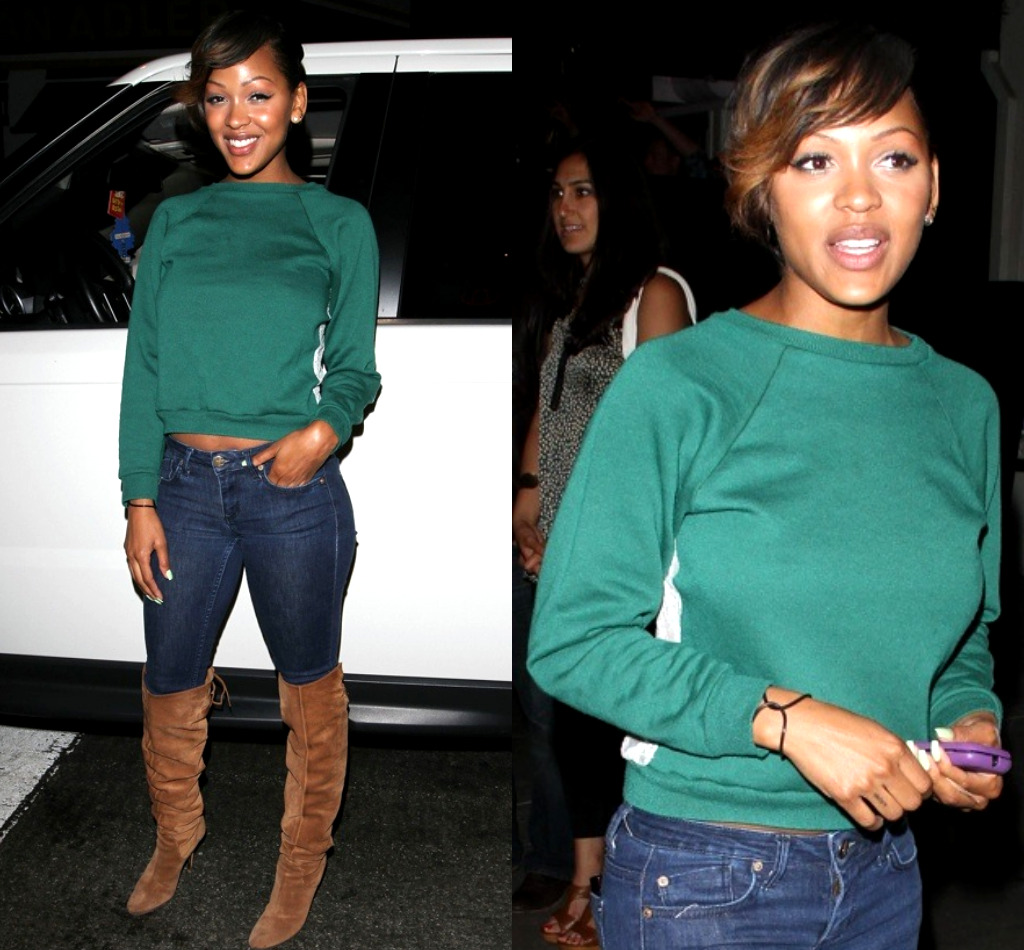 Superb Spotted Meagan Good Outside Of L A Night Club Natural Hairstyles Runnerswayorg